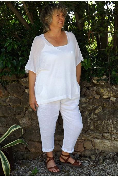 Top maille légère blanc Barbara et pantalon lin Gabriel