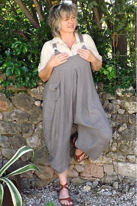 Salopette lin Amandine taupe et chemise lin Albane
