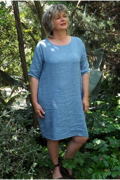 Robe lin basique bleue