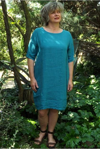 Robe lin basique bleue canard