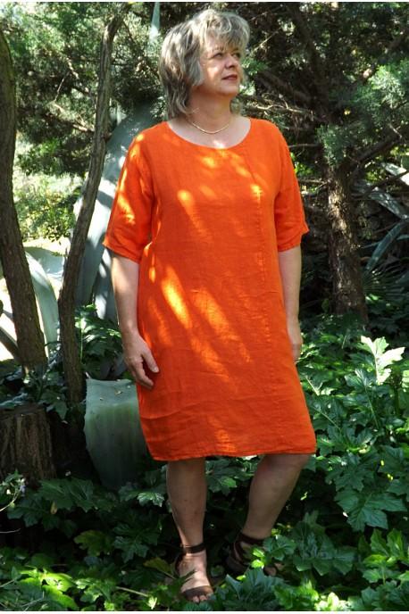 Robe lin basique orange