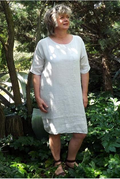 Robe lin basique beige