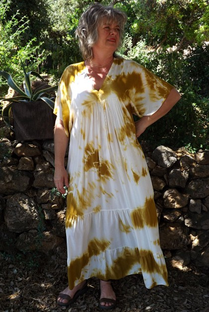 Robe Anastasia viscose Tie and Dye moutarde
