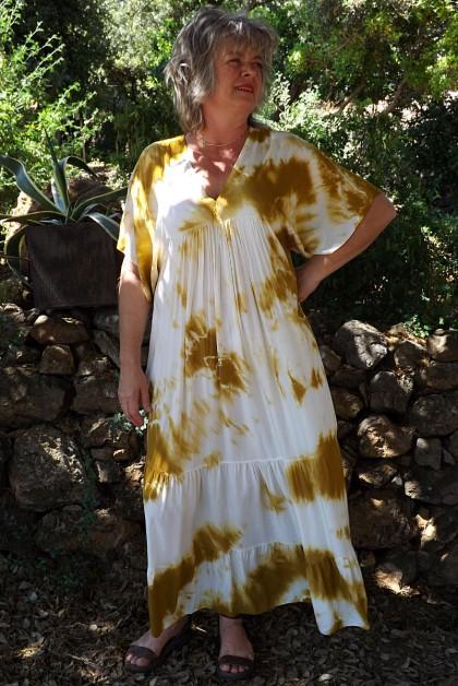 Robe Anastasia viscose Tie and Dye moutarde