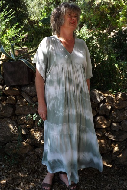 Robe Anastasia viscose Tie and Dye kaki