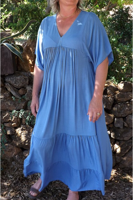 Robe Anastasia viscose Oversize bleue