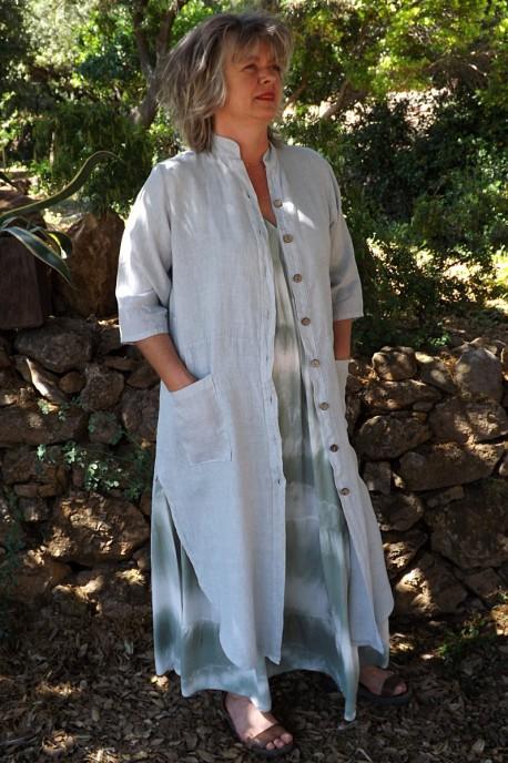 Veste longue en lin Aloïs gris perle et robe Anastasia