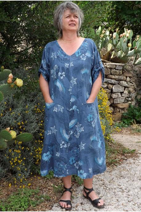 Robe lin Emilie bleue