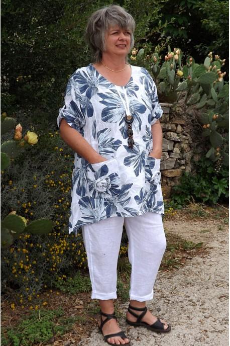Tunique en lin Valéria blanche et pantalon lin Gabriel.