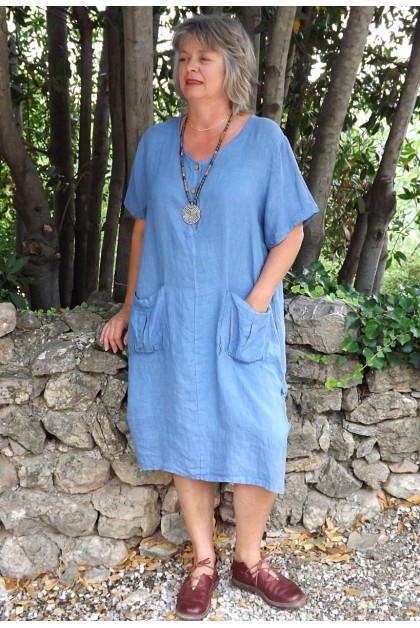 Robe lin Emilienne bleue