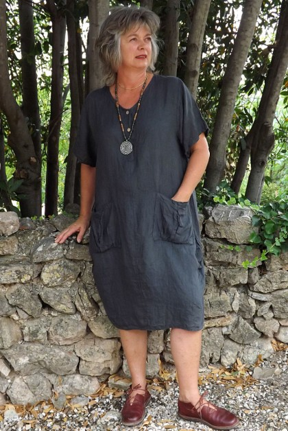 Robe lin Emilienne anthracite