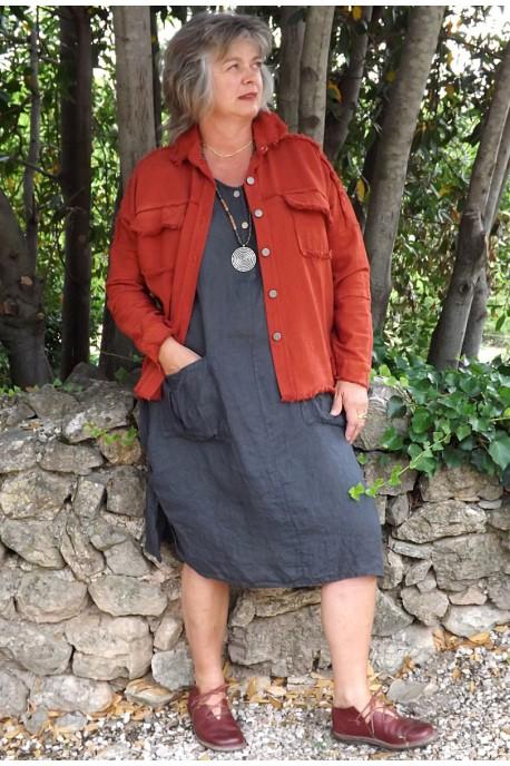 Veste courte Maguelone terracotta et robe Emilienne