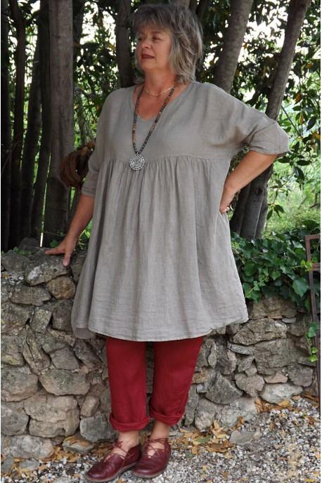 Tunique lin grande taille taupe Marinette et pantalon Gabriel