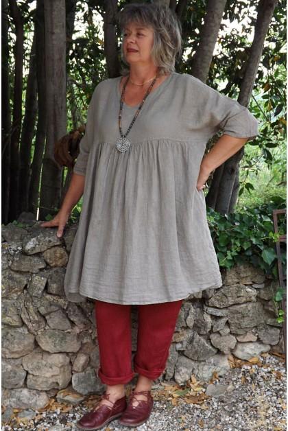 Tunique lin grande taille taupe Marinette