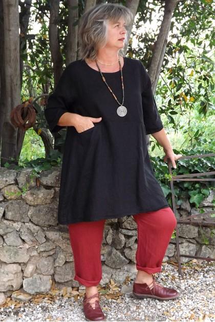 Tunique lin noir Emma