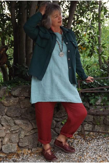 Veste courte Maguelone vert impérial, tunique Emma et pantalon Gabriel