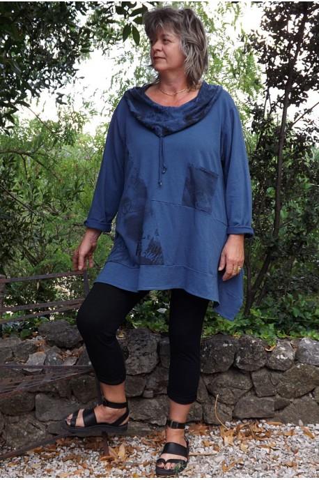 Tunique coton grande taille bleu de nîmes Alice et jegging Sam