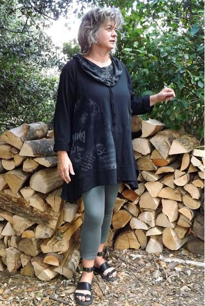 Tunique coton grande taille noire Alice