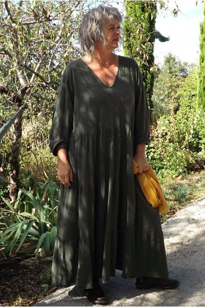 Robe coton grande taille Antoinette kaki