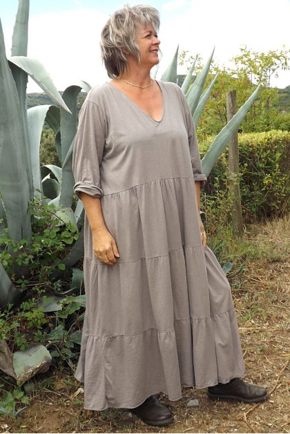 Robe coton grande taille Antoinette taupe