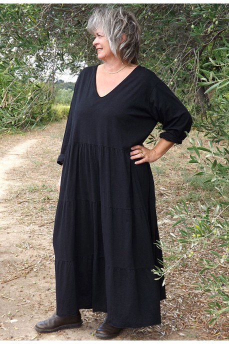 Robe coton grande taille Antoinette noire