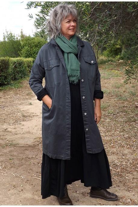 Veste Larzac sur robe Antoinette et un foulard coton