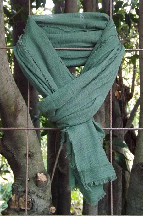 Foulard voile de coton vert sapin