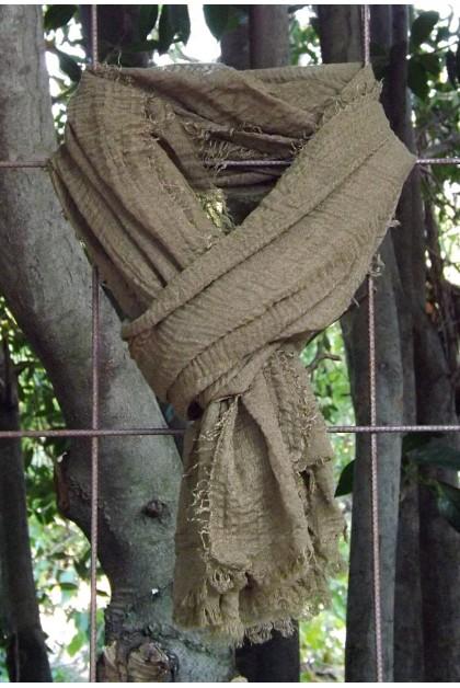 Foulard voile de coton kaki