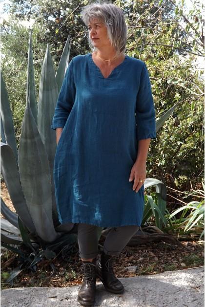 Robe lin Audrey bleu canard