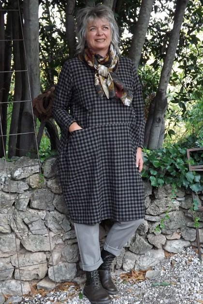 Robe coton Angèle taupe et pantalon Gaby