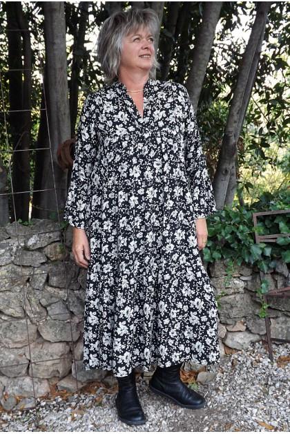 Robe longue fond noir Jeanne