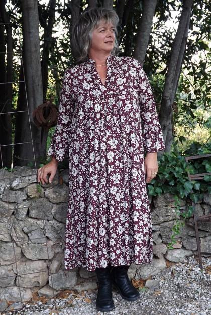 Robe longue fond bordeaux Jeanne