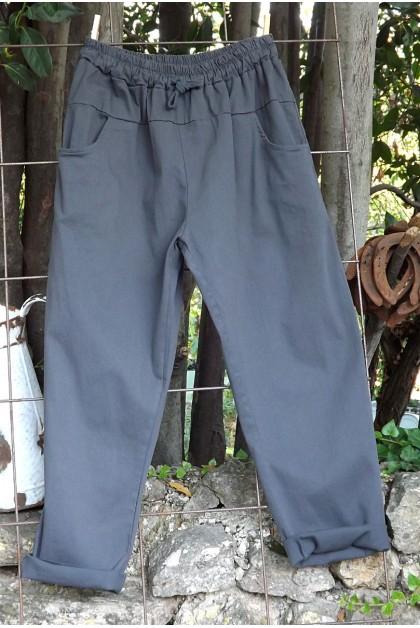 Pantalon toile coton Gaby anthracite T 38 à 46