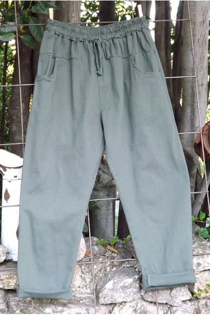 Pantalon toile coton Gaby kaki T 38 à 46
