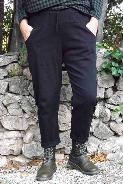 Pantalon toile coton Gaby noir T 38 à 46