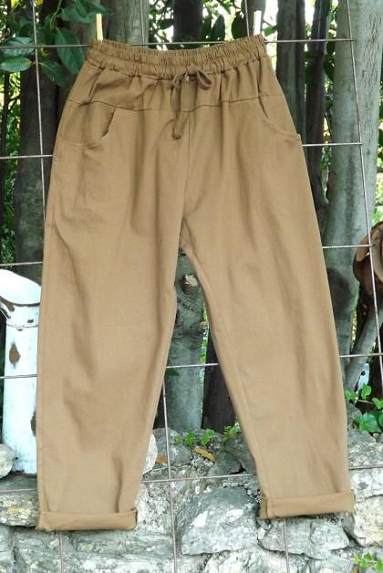 Pantalon toile coton Gaby caramel T 38 à 46