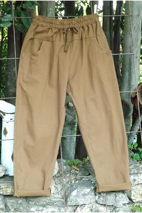 Pantalon toile de coton Gaby café