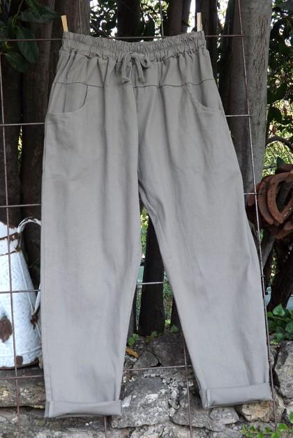 Pantalon toile coton Gaby beige T 38 à 46