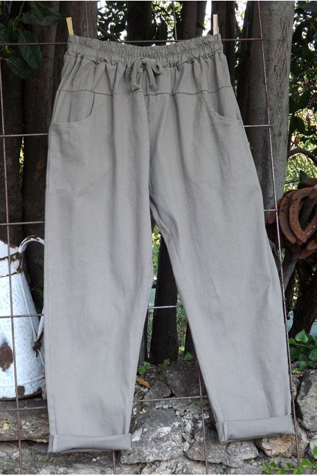Pantalon toile de coton Gaby beige