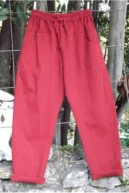 Pantalon toile coton Gaby garance T 38 à 46
