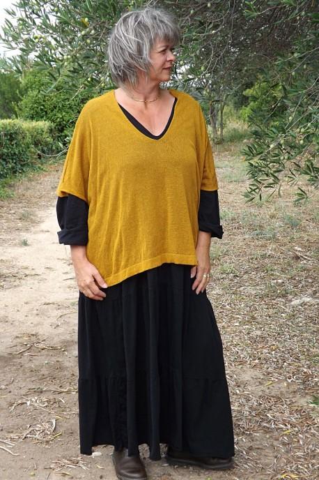 Top maille légère safran Barbara et robe grande taille coton Antoinette.