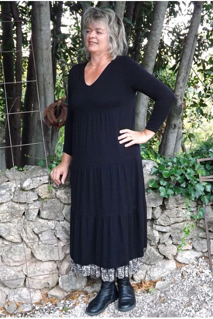 Robe maille tricot Clara noire et jupe Marlène