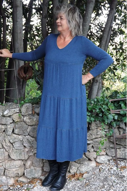 Robe maille tricot Clara bleu jean