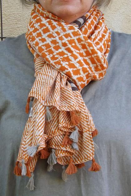 Foulard carreaux orange