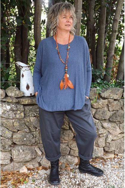 Pull fin grégoire grande taille bleu et pantalon Gaby 46 à 52