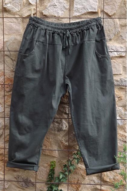 Pantalon toile coton Gaby kaki T 46 à 52