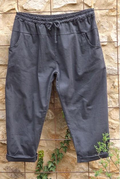 Pantalon toile coton Gaby anthracite T 46 à 52