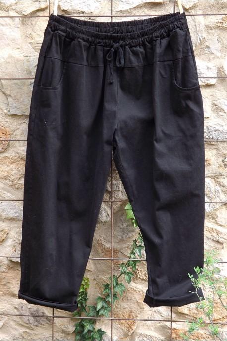 Pantalon toile coton Gaby noir T 46 à 52