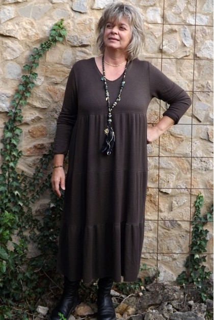 Robe grande taille Adélie choco
