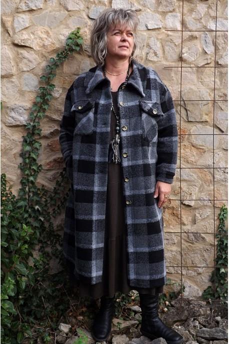 Manteau lainage Simon à carreaux